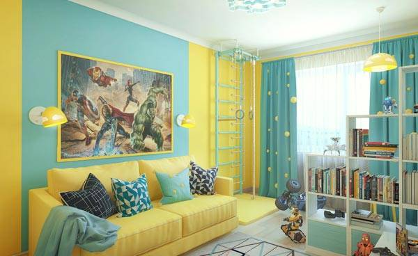 Ярко-желтый и пастельный голубой отлично пойдут для разнополых детей