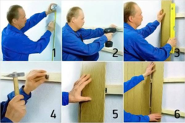 Процесс обшивки стен вагонкой