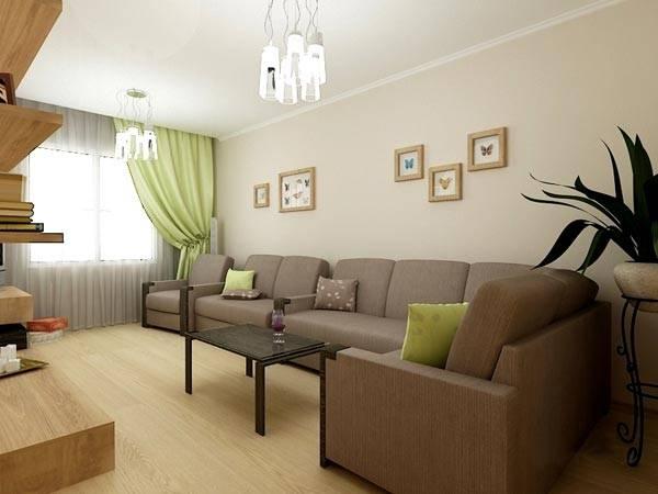 Бежевые стены - угловой диван кофейного цвета