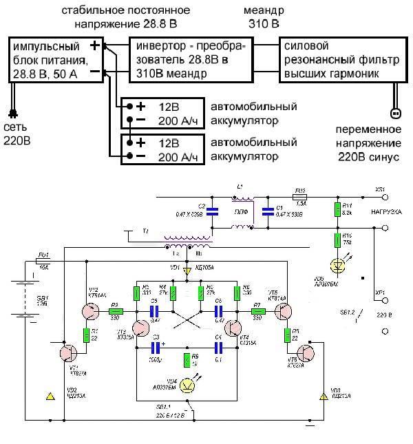 Электрическая схема ИБП