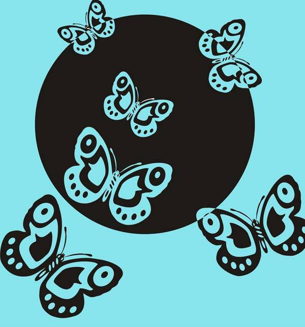 Трафарет с бабочками