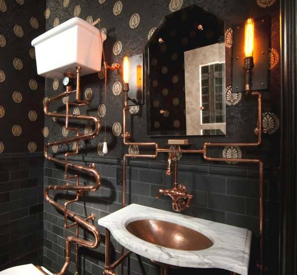 Медные трубы в современной ванной