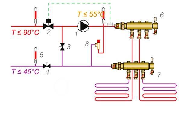Схема с двухходовым краном