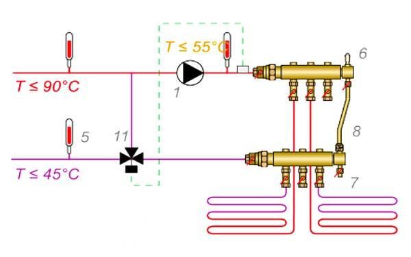Схема с установкой крана на трубу обратки