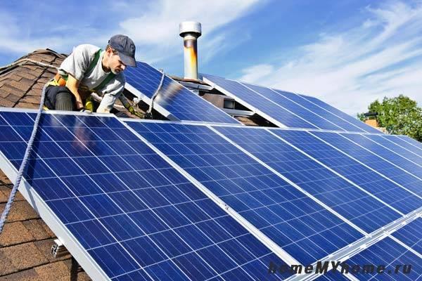 Монтаж солнечных батарей на кровле