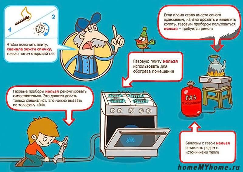 Правила эксплуатации газовой плиты