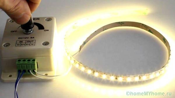 Управление светодиодной лентой при помощи диммера