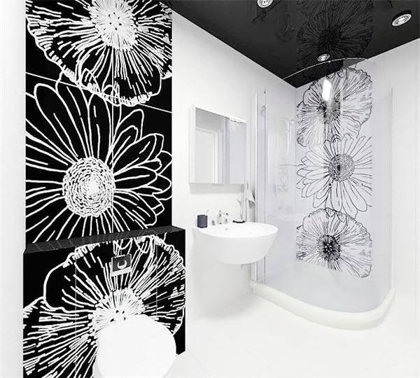 Трафаретные композиции в ванной комнате