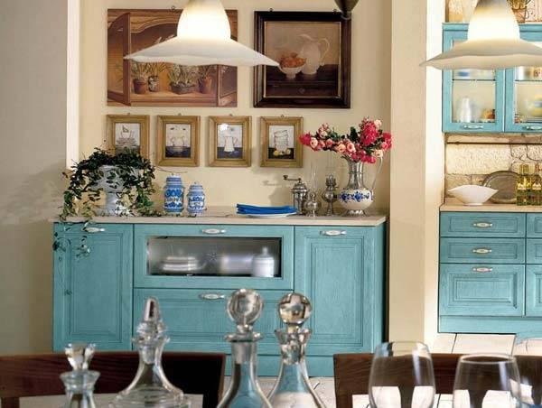 Интерьер в стиле прованс, украшенный искусственными цветами