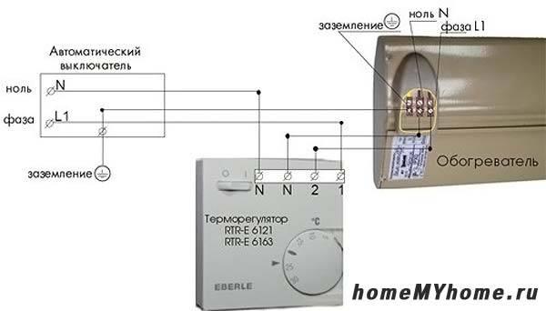 Подключение ИК обогревателей через терморегулятор