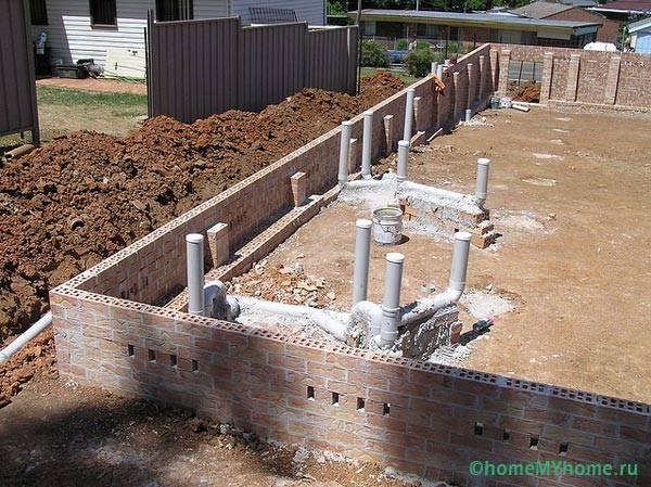 Элементы внутренней системы на этапе строительства дома