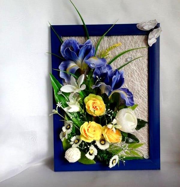 Превосходное панно из искусственных цветов
