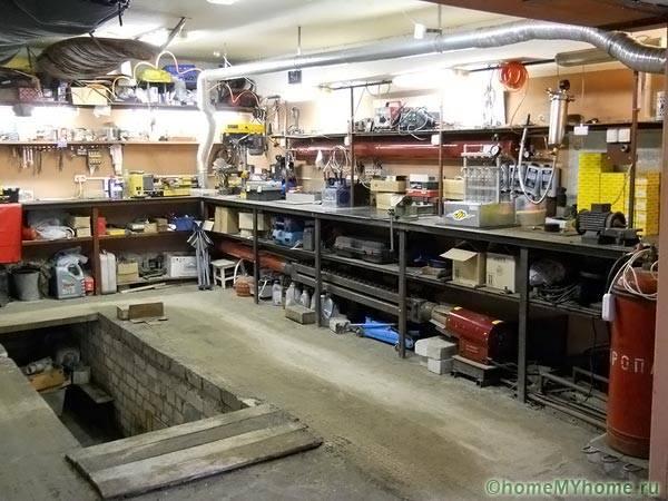 Организация рабочего пространства внутри гаража