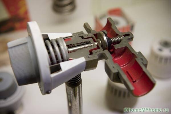 Термоголовка и клапан в разрезе