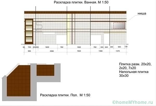 Предварительная визуализация раскладки плитки