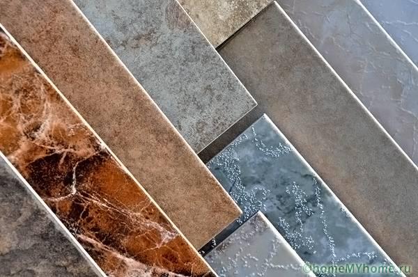 Керамическая плитка разных цветов и текстур
