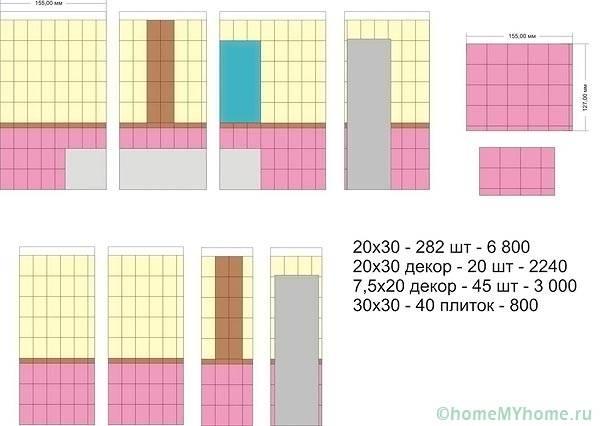 Пример расчета разной плитки на ванную