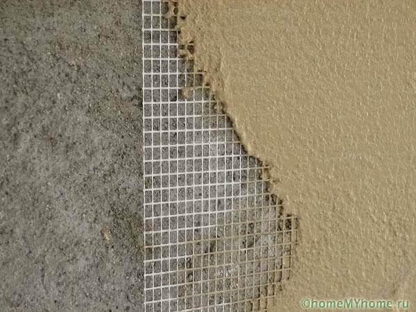 Армирование стены малярной сеткой