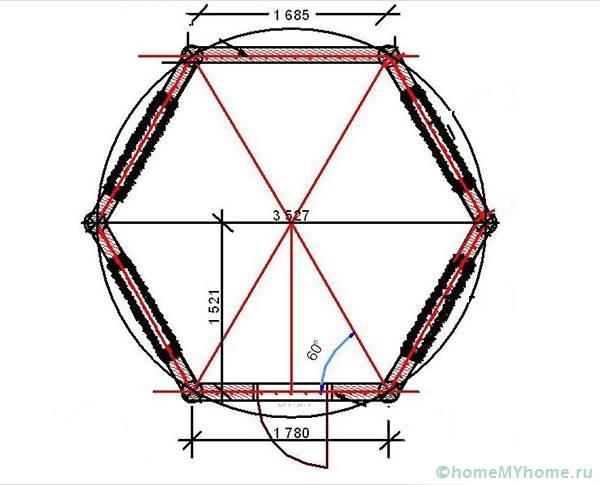 Разметка шестигранного основания