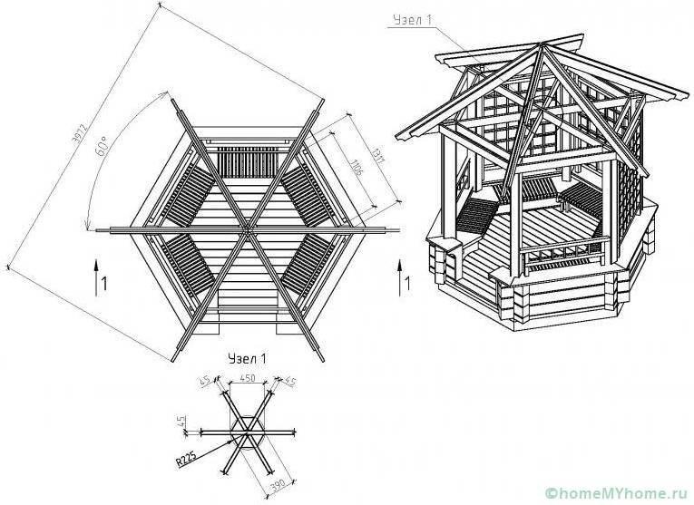 Проект шестиугольной беседки