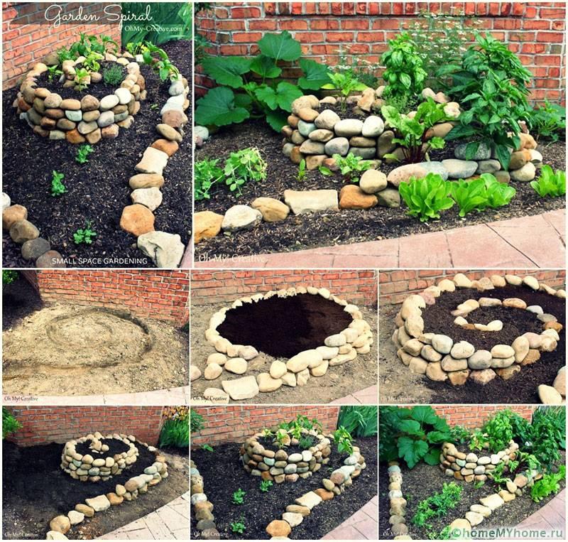Поэтапное устройство клумбы из камней