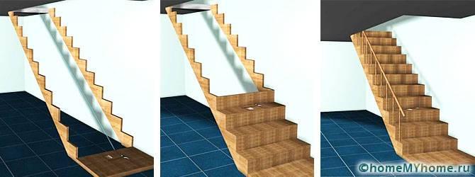 Этапы возведения лестницы