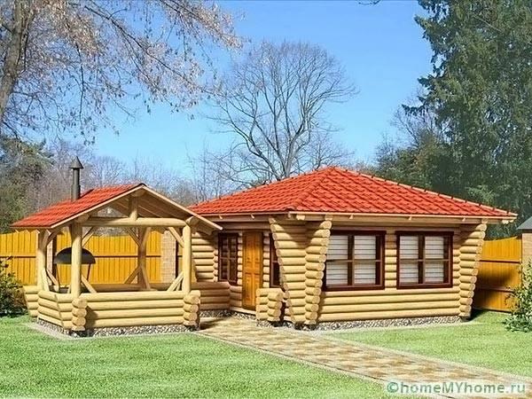 Беседка и дом из бревен в едином стиле