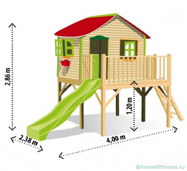 Размеры для домика с горкой
