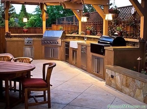 Летняя кухня в пристройке веранды