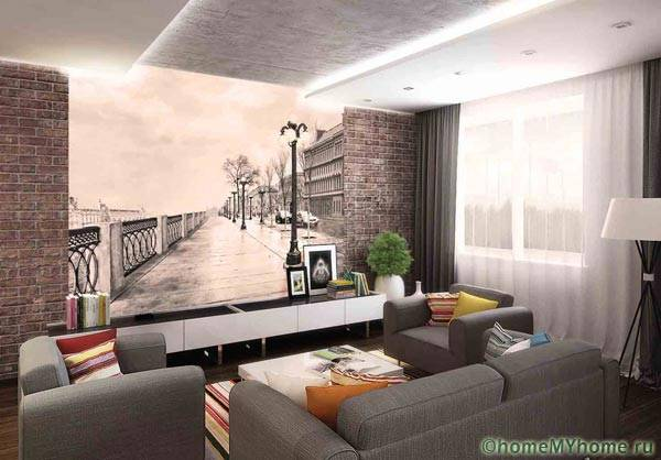 Декоративное панно с подсветкой, нарисованное прямо на стене