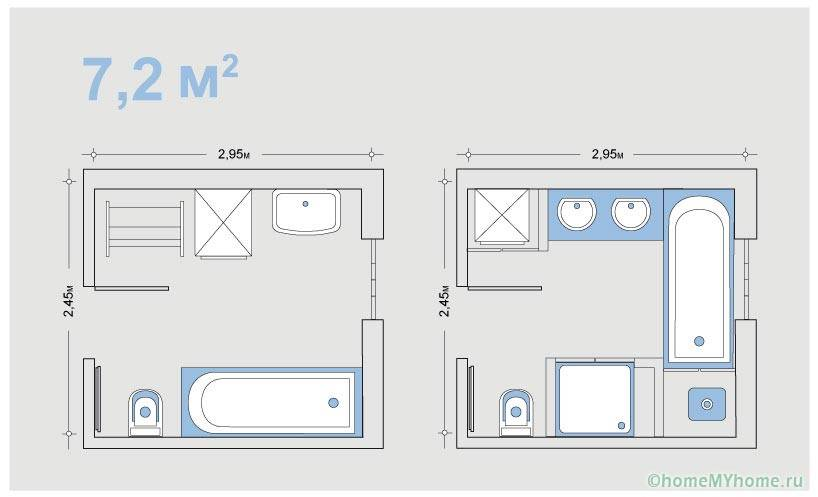 Варианты размещения сантехники на одной и той же площади