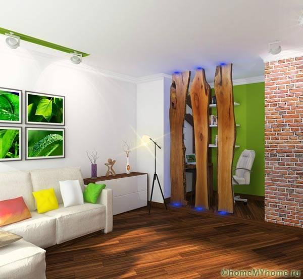 Экологические мотивы в интерьере гостиной