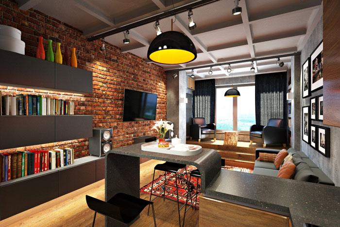 Видимые бетонные перекрытия притягивают внимание, у ваших гостей обязательно останутся вопросы