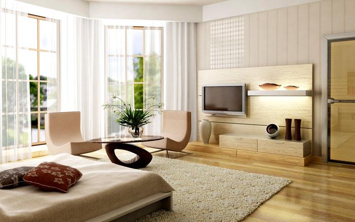 Гармоничный бежевый оттенок облицовки и натуральная фактура мебели