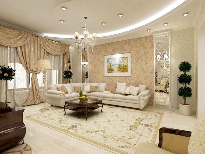 Полукруглый потолок с подсветкой создаёт иллюзию высоты