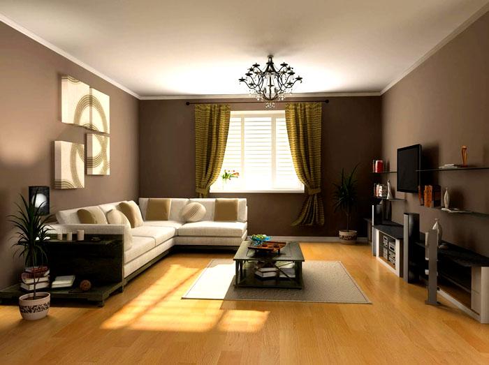 Строгий классический дизайн с однотонными тёмными стенами. Покрытие пола выполнено ламинированным паркетом