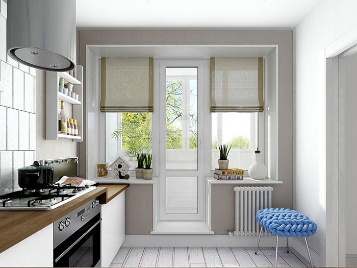 Окна с лоджией и балконной дверью завешивают римскими шторами спокойного оттенка