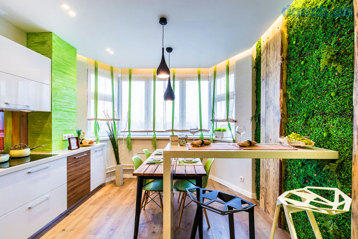 Современный природный стиль, ничего не может быть лучше для кухни с панорамными окнами
