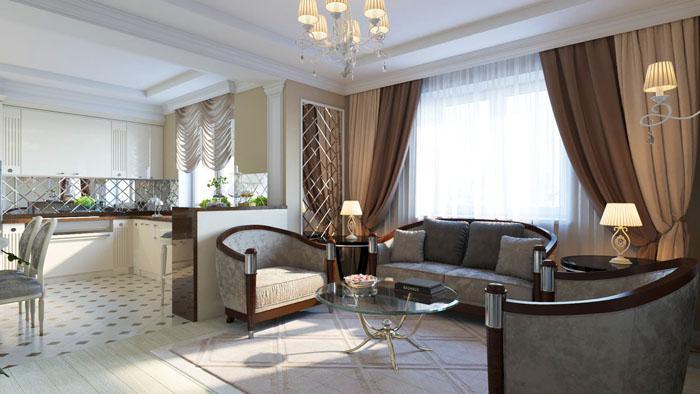 Совмещённость комнат в современном интерьере — главный акцент, который часто применяется