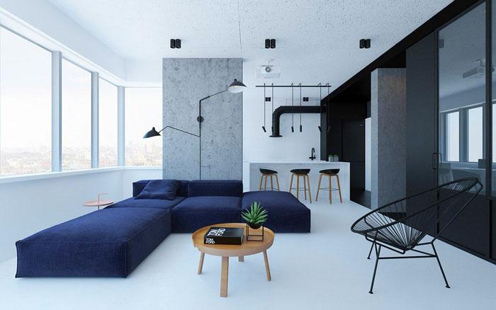 В минимализме можно соединить целых три комнаты в одну и сделать индивидуальное зонирование