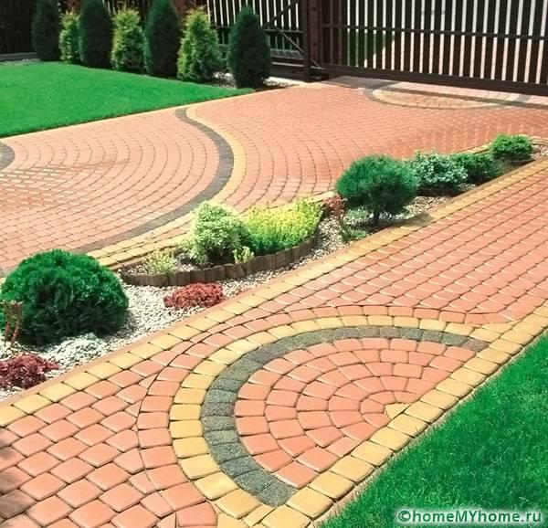 Дизайн брусчатки во дворе дома фото
