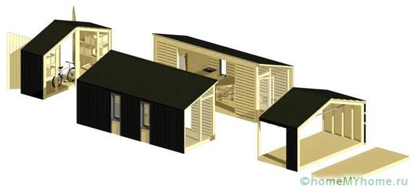 Вариант схемы модульной постройки