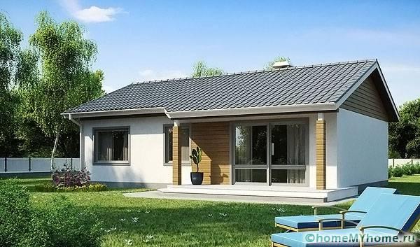 Здание с двухскатной крышей