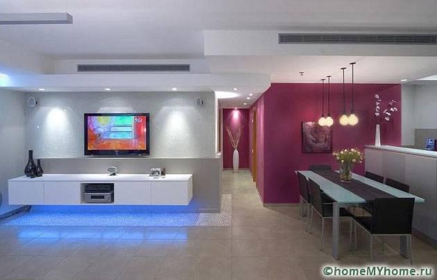 Зонирование помещения с помощью цвета и света