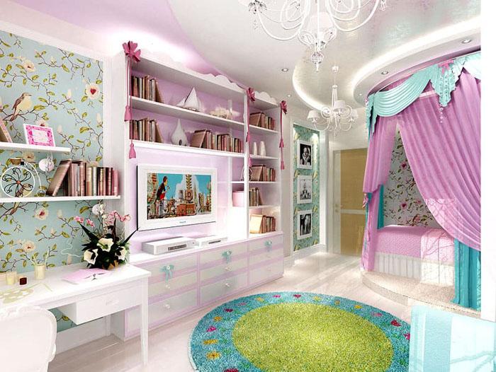 Кровать с балдахином не только отделит зону спальни, но и превратит комнату в апартаменты принцессы
