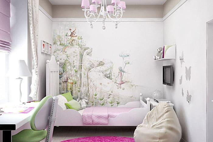 Стены могут быть окрашены или покрыты фактурной штукатуркой