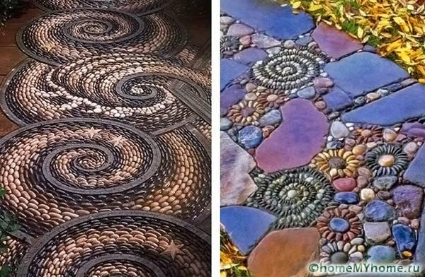 Сочетание цветной гальки и крупных камней дает необычный эффект