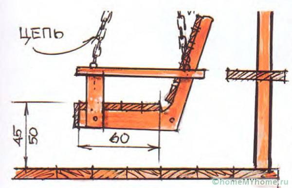 Схема навешивания кресла