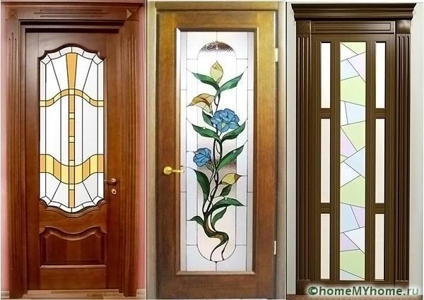 Двери из ламинированной древесины могут быть украшены стеклянными вставками