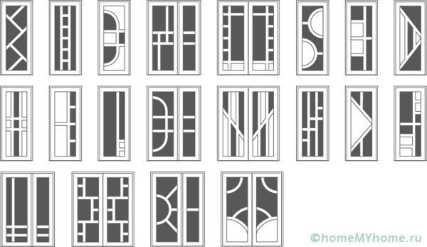 Разнообразие вариантов заполнения стеклом
